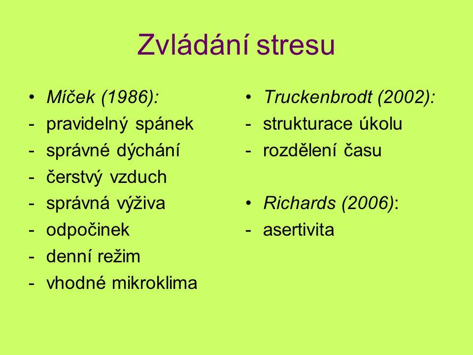 Zvládání stresu Míček (1986): pravidelný spánek správné dýchání