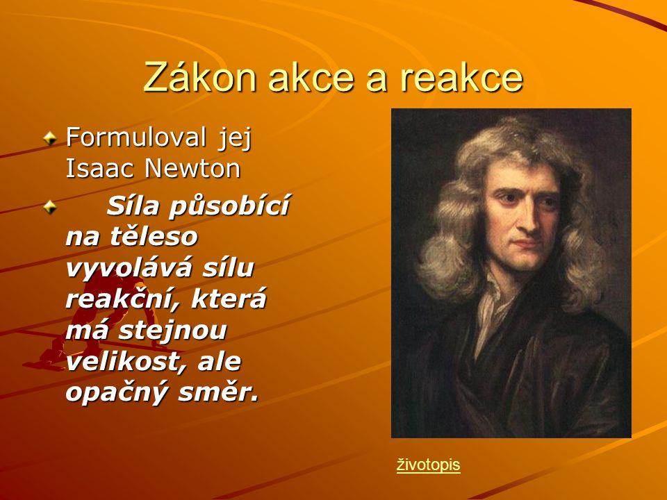 Zákon akce a reakce Formuloval jej Isaac Newton