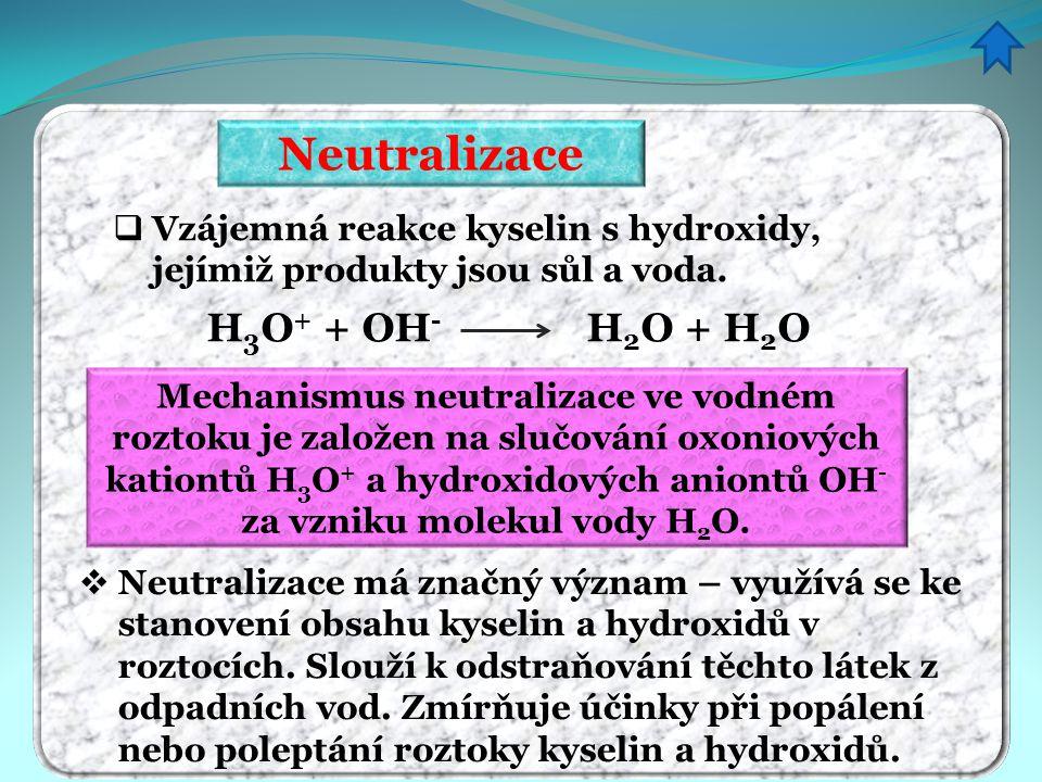 Neutralizace H3O+ + OH- H2O + H2O