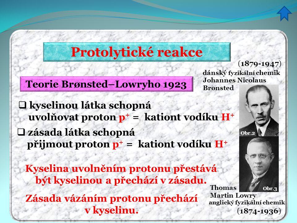 Protolytické reakce Teorie Brønsted–Lowryho 1923