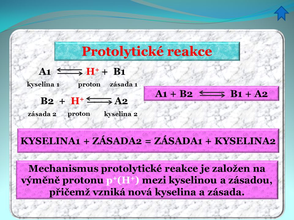 KYSELINA1 + ZÁSADA2 = ZÁSADA1 + KYSELINA2