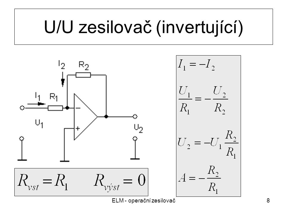 U/U zesilovač (invertující)