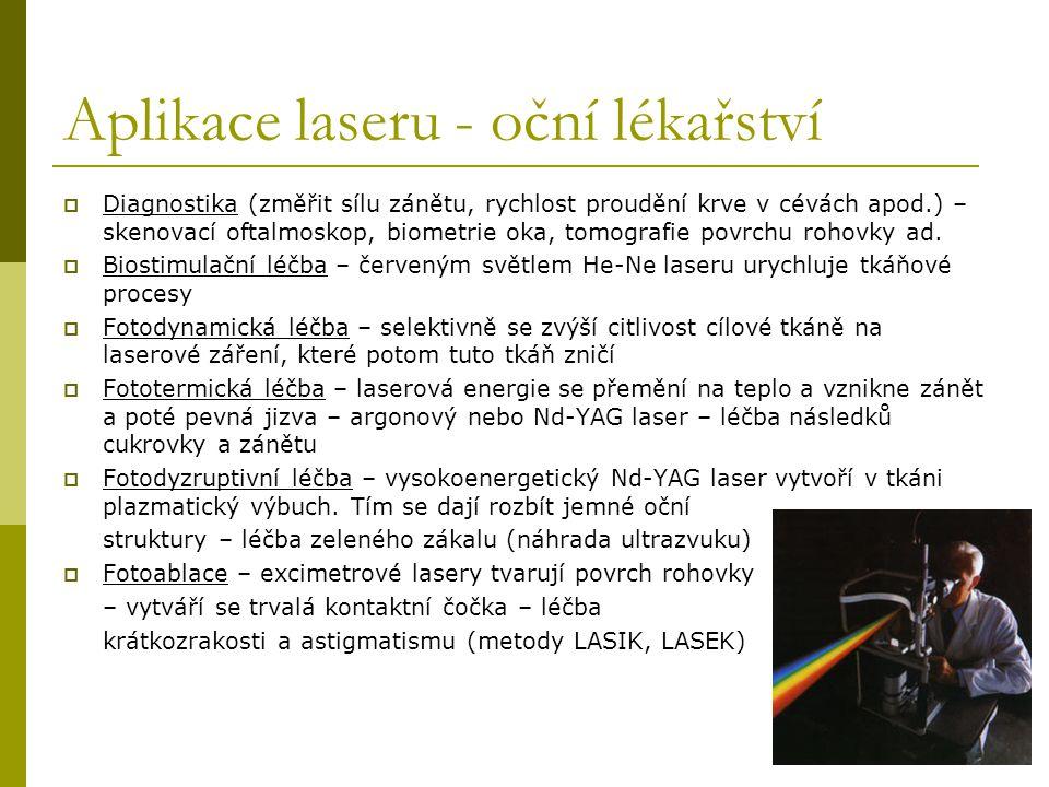 Aplikace laseru - oční lékařství