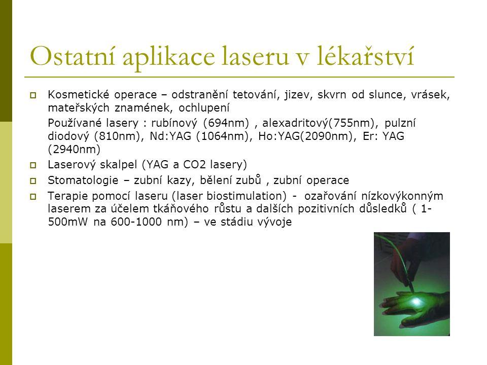 Ostatní aplikace laseru v lékařství