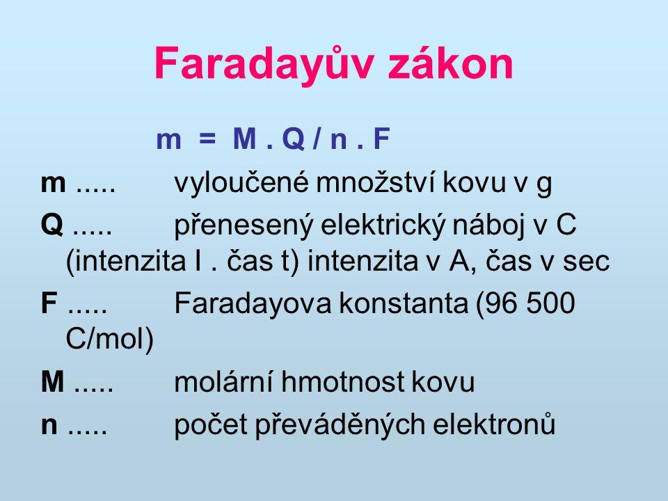 Faradayův zákon m = M . Q / n . F m ..... vyloučené množství kovu v g