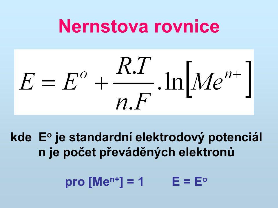 Nernstova rovnice kde Eo je standardní elektrodový potenciál