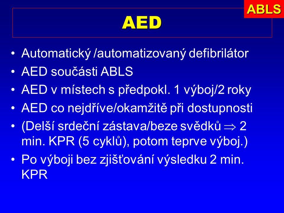 AED ABLS Automatický /automatizovaný defibrilátor AED součásti ABLS