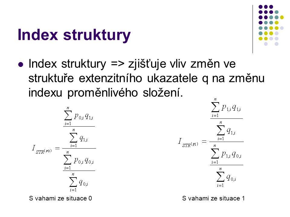 Index struktury Index struktury => zjišťuje vliv změn ve struktuře extenzitního ukazatele q na změnu indexu proměnlivého složení.
