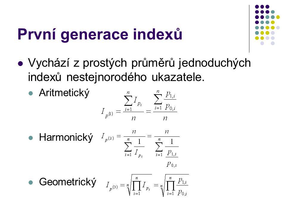 První generace indexů Vychází z prostých průměrů jednoduchých indexů nestejnorodého ukazatele. Aritmetický.