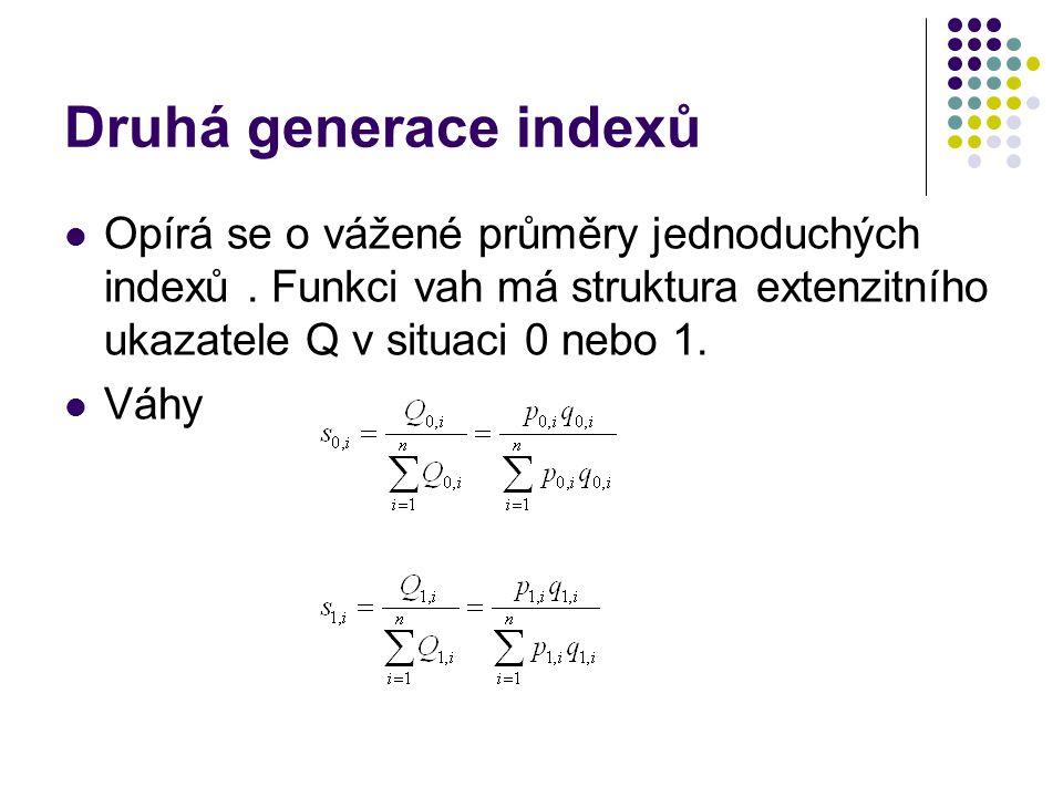 Druhá generace indexů Opírá se o vážené průměry jednoduchých indexů . Funkci vah má struktura extenzitního ukazatele Q v situaci 0 nebo 1.