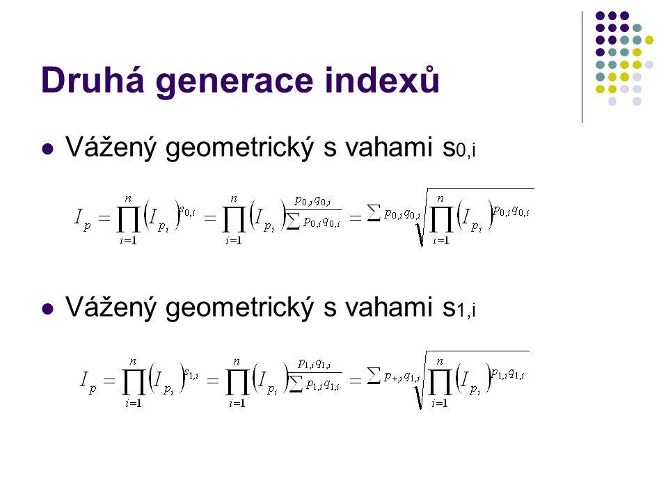 Druhá generace indexů Vážený geometrický s vahami s0,i