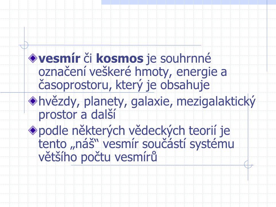 vesmír či kosmos je souhrnné označení veškeré hmoty, energie a časoprostoru, který je obsahuje