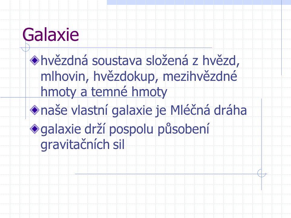Galaxie hvězdná soustava složená z hvězd, mlhovin, hvězdokup, mezihvězdné hmoty a temné hmoty. naše vlastní galaxie je Mléčná dráha.