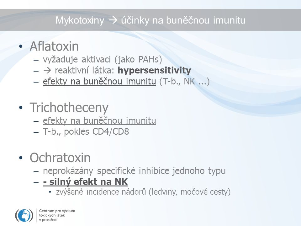 Mykotoxiny  účinky na buněčnou imunitu