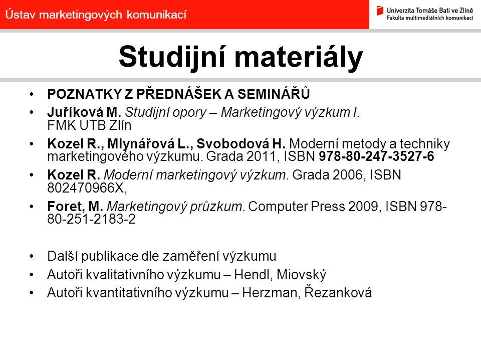 Studijní materiály POZNATKY Z PŘEDNÁŠEK A SEMINÁŘŮ