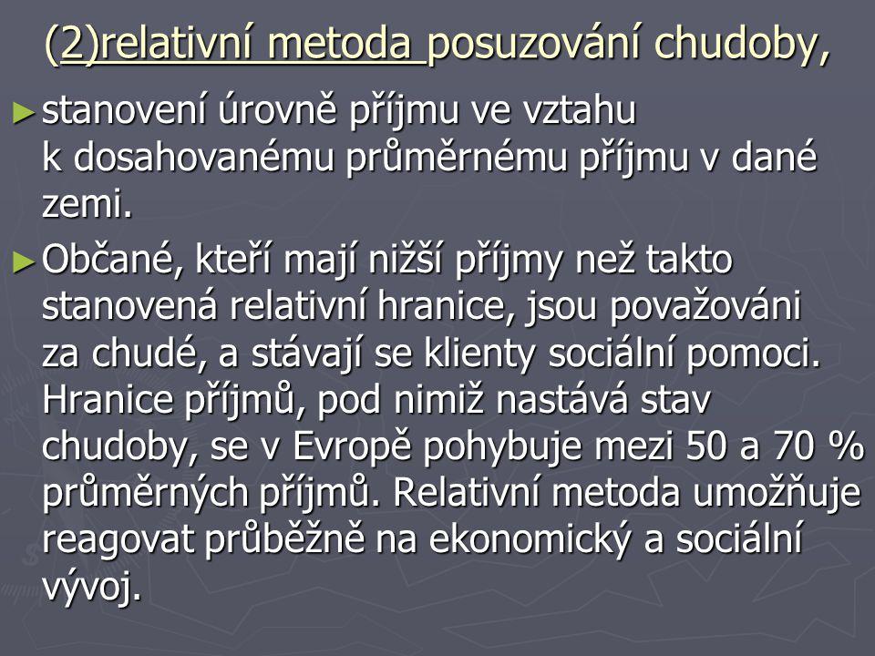(2)relativní metoda posuzování chudoby,