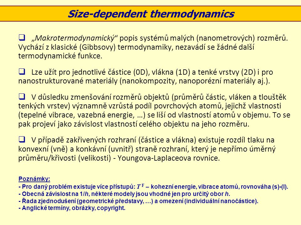 Size-dependent thermodynamics