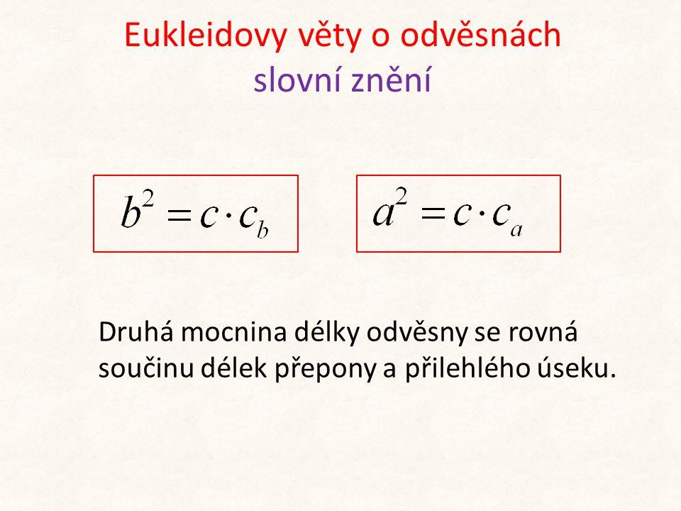 Eukleidovy věty o odvěsnách slovní znění