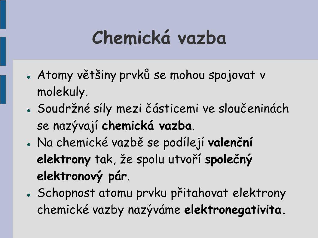 Chemická vazba Atomy většiny prvků se mohou spojovat v molekuly.