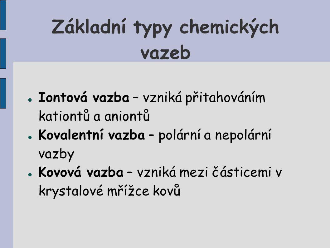 Základní typy chemických vazeb