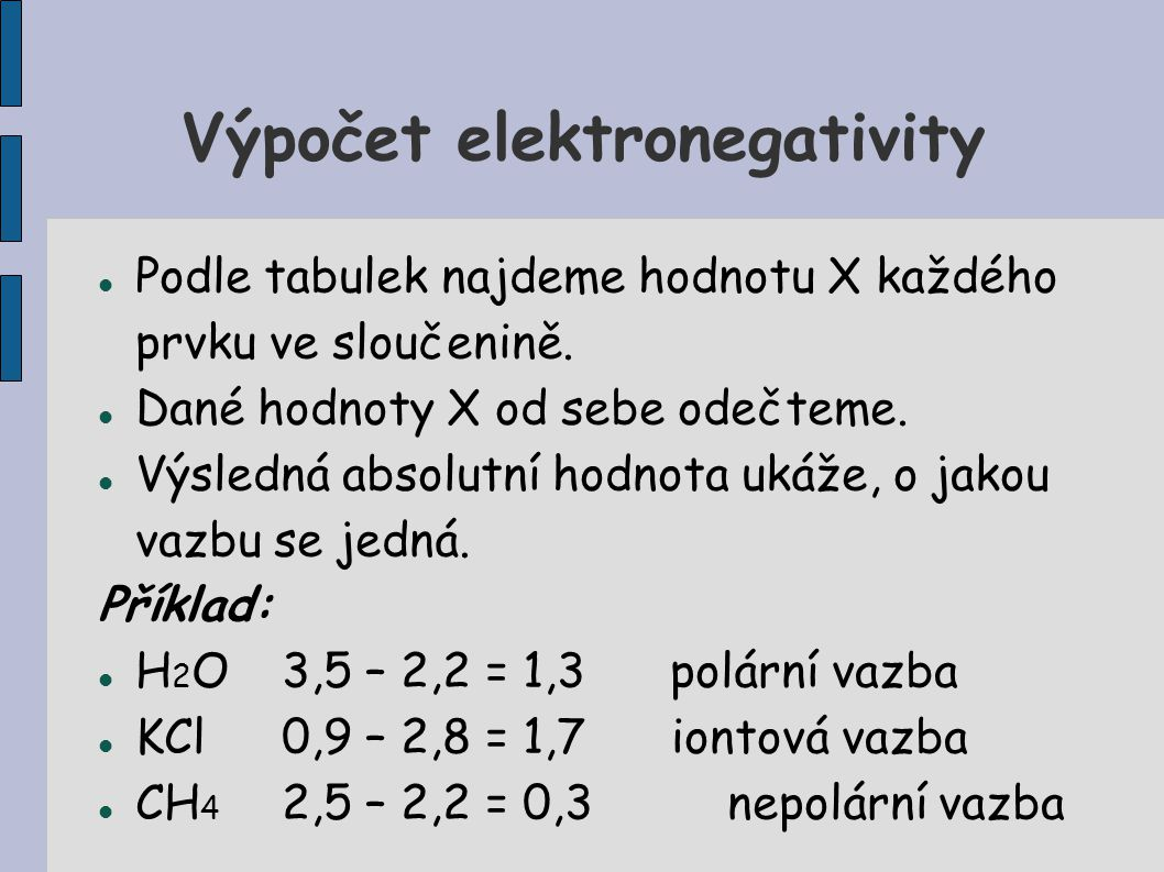 Výpočet elektronegativity