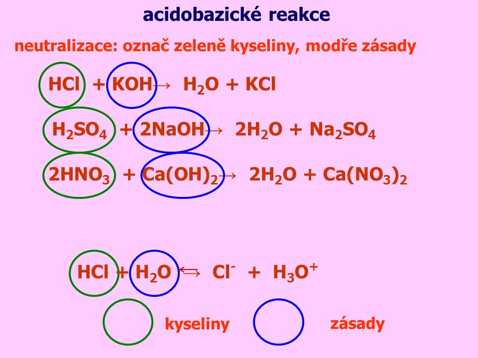 acidobazické reakce HCl + H2O → Cl- + H3O+