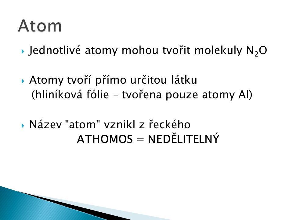 Atom Jednotlivé atomy mohou tvořit molekuly N2O