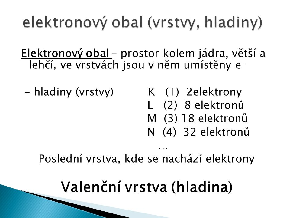 elektronový obal (vrstvy, hladiny)