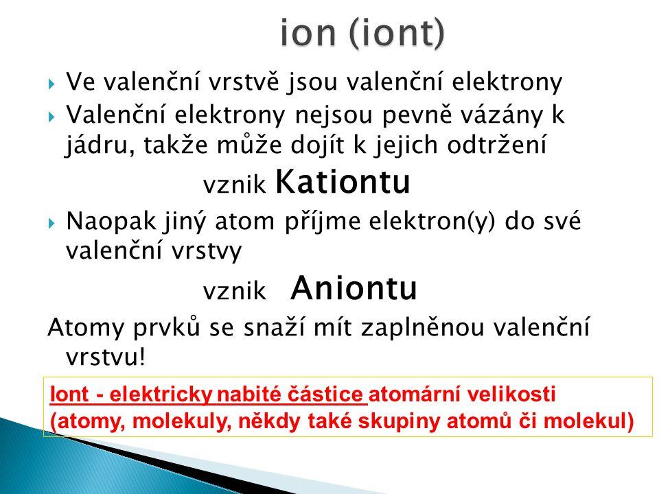 ion (iont) Ve valenční vrstvě jsou valenční elektrony