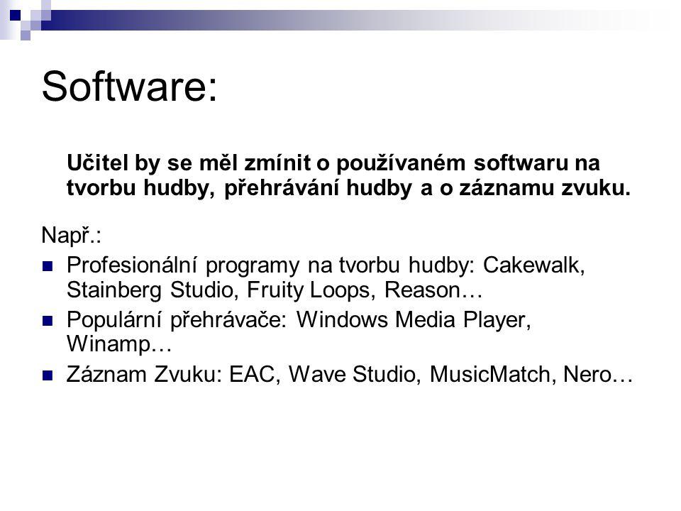 Software: Učitel by se měl zmínit o používaném softwaru na tvorbu hudby, přehrávání hudby a o záznamu zvuku.
