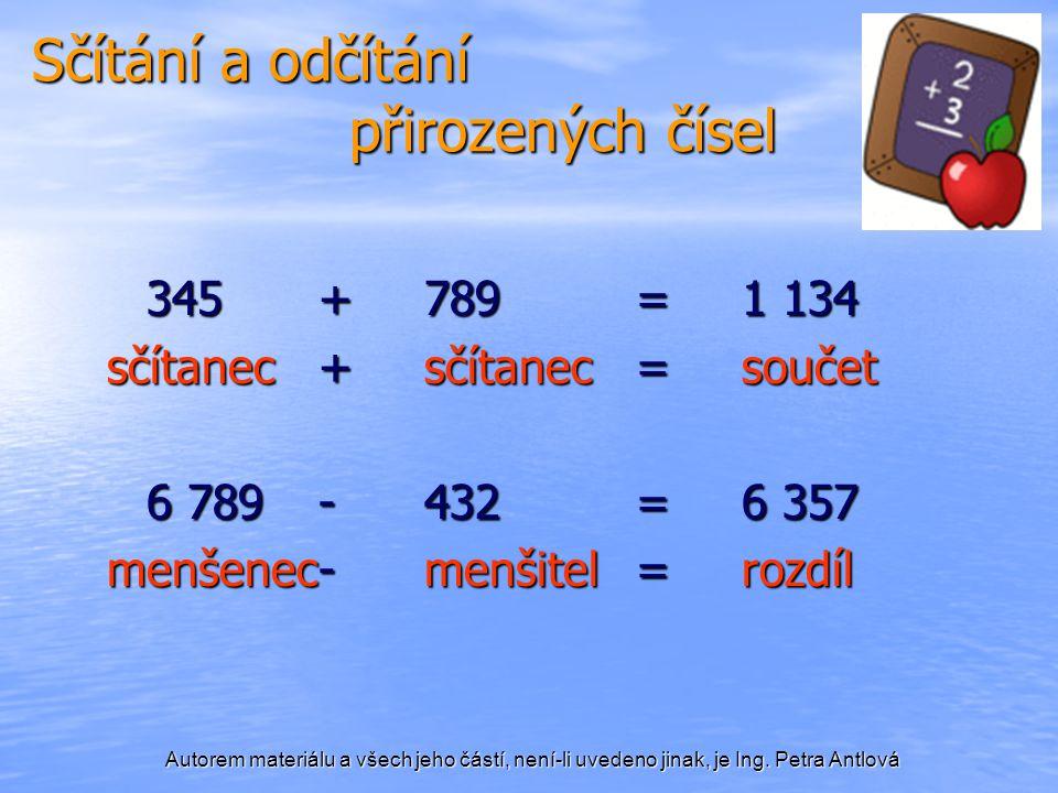 Sčítání a odčítání přirozených čísel