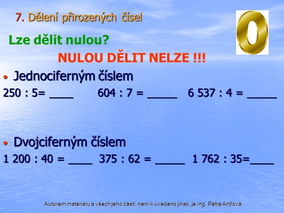 7. Dělení přirozených čísel