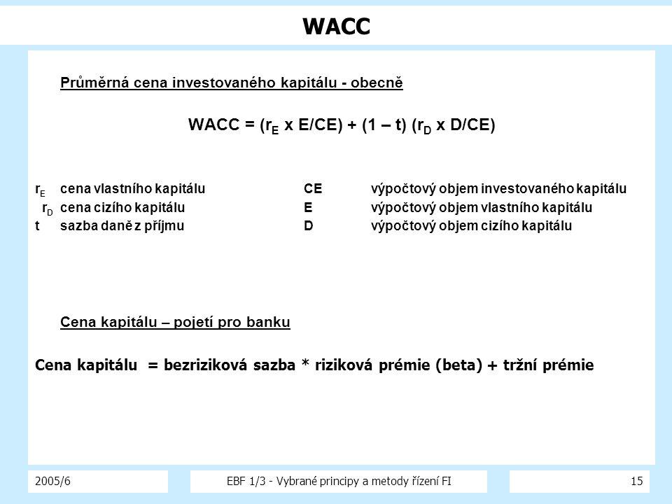 WACC = (rE x E/CE) + (1 – t) (rD x D/CE)