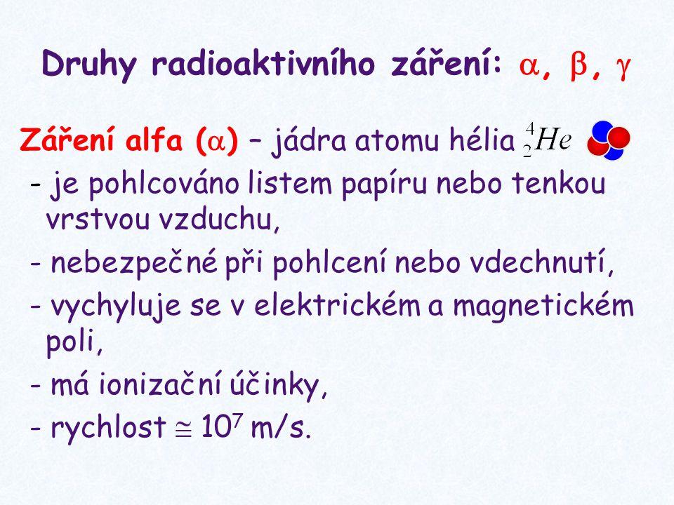 Druhy radioaktivního záření: , , 