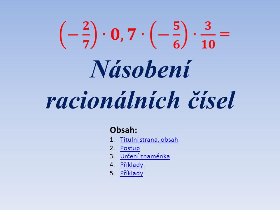 Násobení racionálních čísel