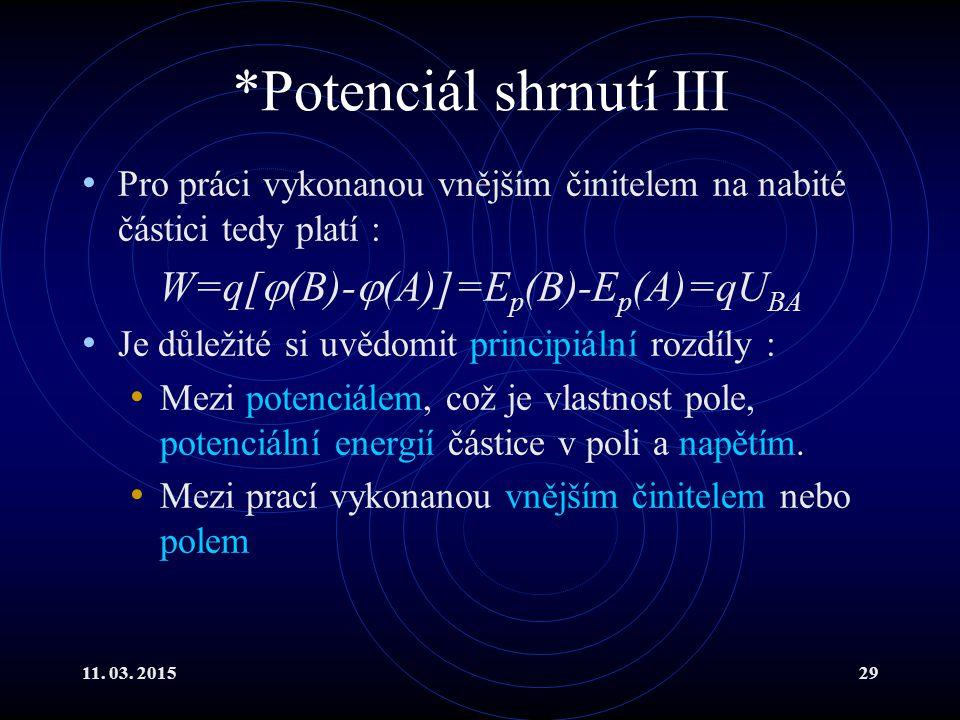 *Potenciál shrnutí III