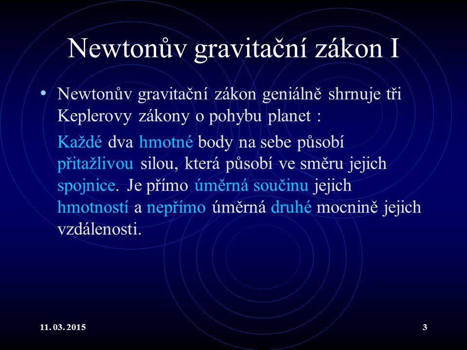 Newtonův gravitační zákon I