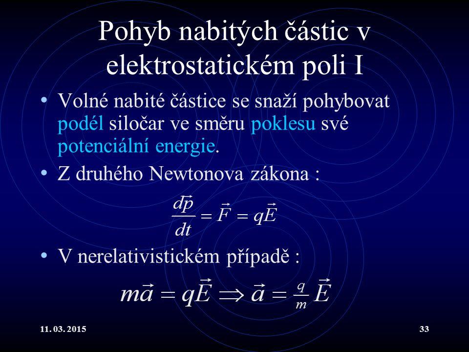 Pohyb nabitých částic v elektrostatickém poli I