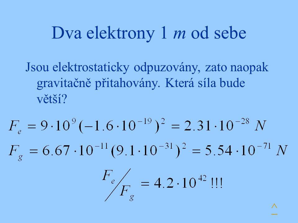 Dva elektrony 1 m od sebe Jsou elektrostaticky odpuzovány, zato naopak gravitačně přitahovány. Která síla bude větší