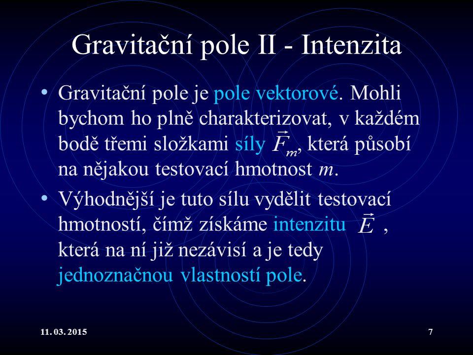 Gravitační pole II - Intenzita