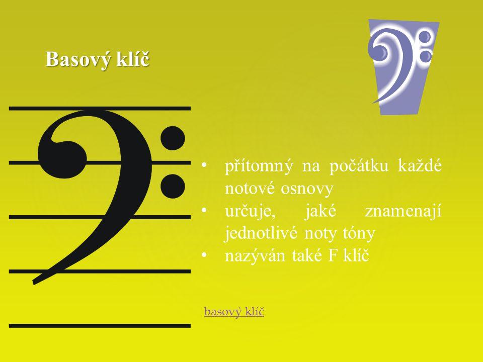 Basový klíč přítomný na počátku každé notové osnovy