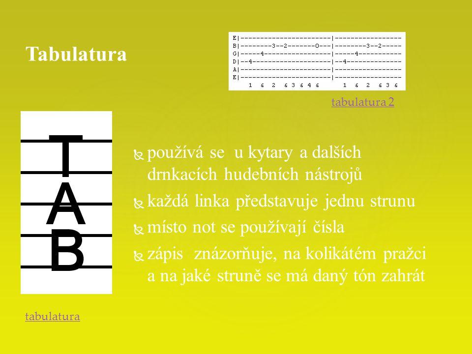 Tabulatura používá se u kytary a dalších drnkacích hudebních nástrojů