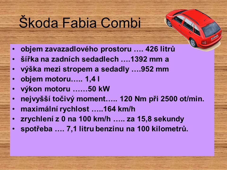 Škoda Fabia Combi objem zavazadlového prostoru …. 426 litrů