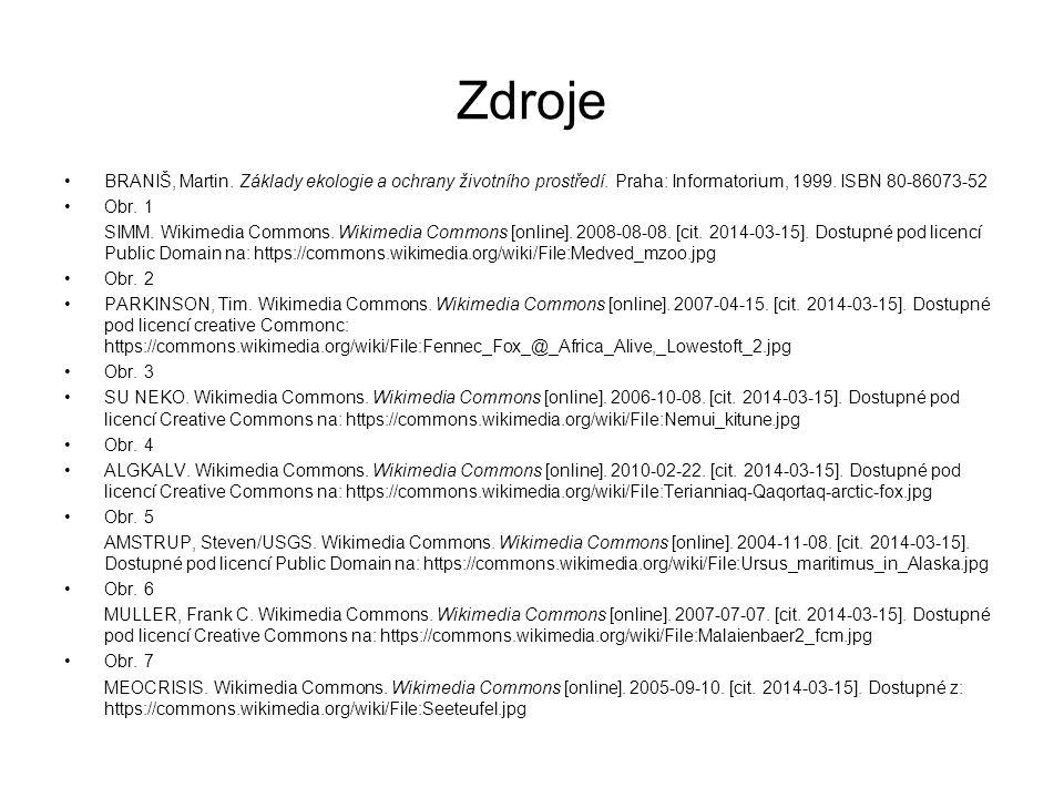 Zdroje BRANIŠ, Martin. Základy ekologie a ochrany životního prostředí. Praha: Informatorium, 1999. ISBN 80-86073-52.