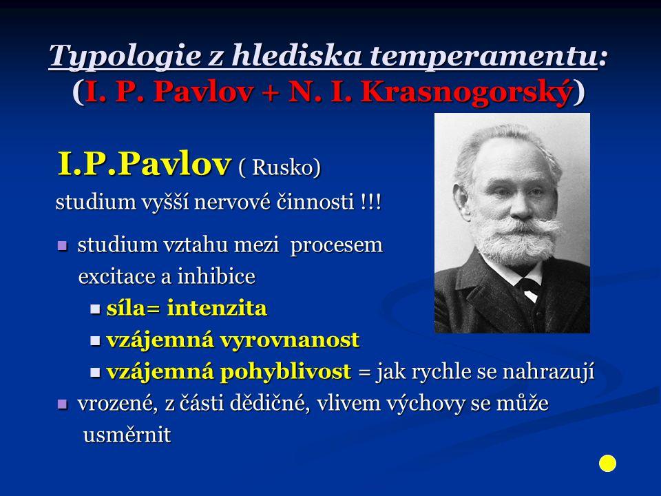 Typologie z hlediska temperamentu: (I. P. Pavlov + N. I. Krasnogorský)
