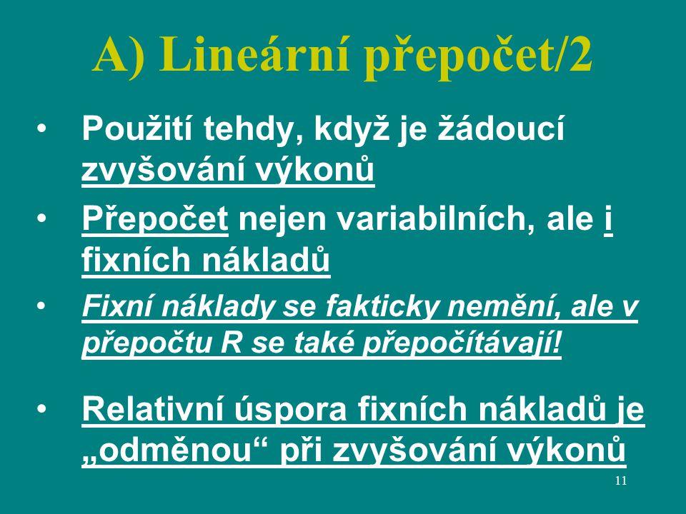 A) Lineární přepočet/2 Použití tehdy, když je žádoucí zvyšování výkonů