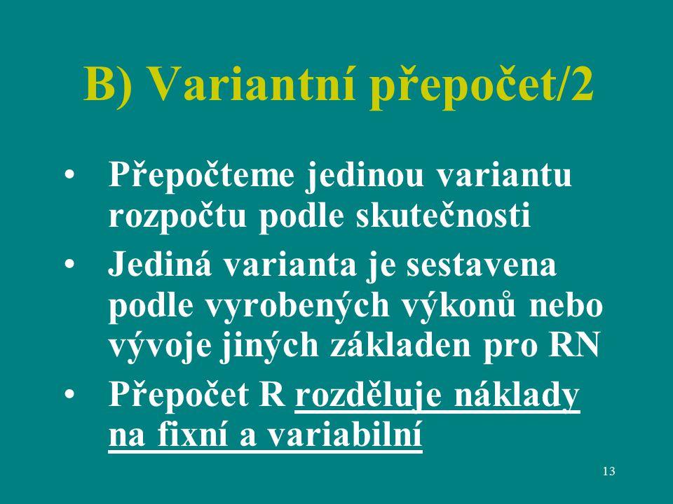 B) Variantní přepočet/2