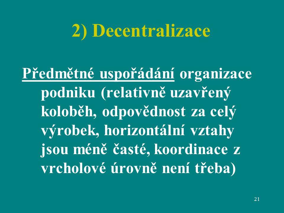2) Decentralizace