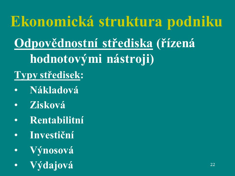 Ekonomická struktura podniku