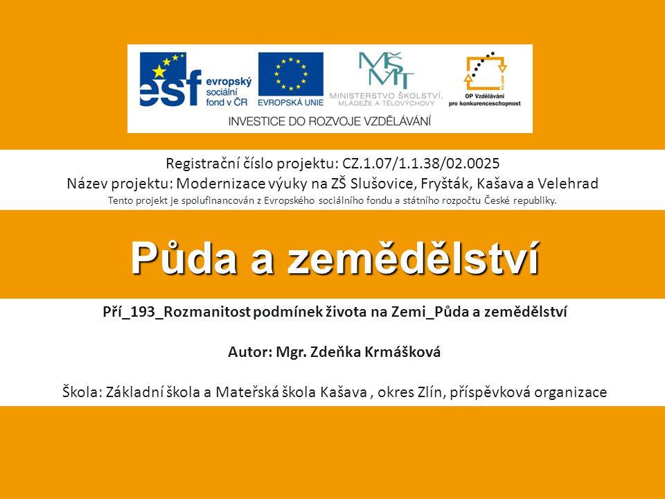 Půda a zemědělství Registrační číslo projektu: CZ.1.07/1.1.38/02.0025